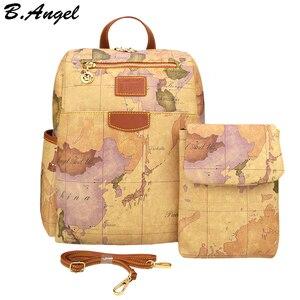 Image 1 - Retro Pouchy seyahat için sırt çantası Yüksek Kapasiteli Deri okul sırt çantası Dünya Haritası Baskı Sırt Çantası Iki Çanta Bir Set