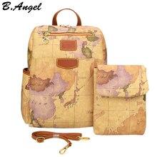 Retro pouchy mochila para viagens de alta capacidade mochila de couro para a escola mapa do mundo impressão mochila dois sacos um conjunto