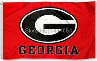 University of Georgia Bulldogs red Flag 150X90CM Banner 100D Polyester flag brass grommets 001, free shipping