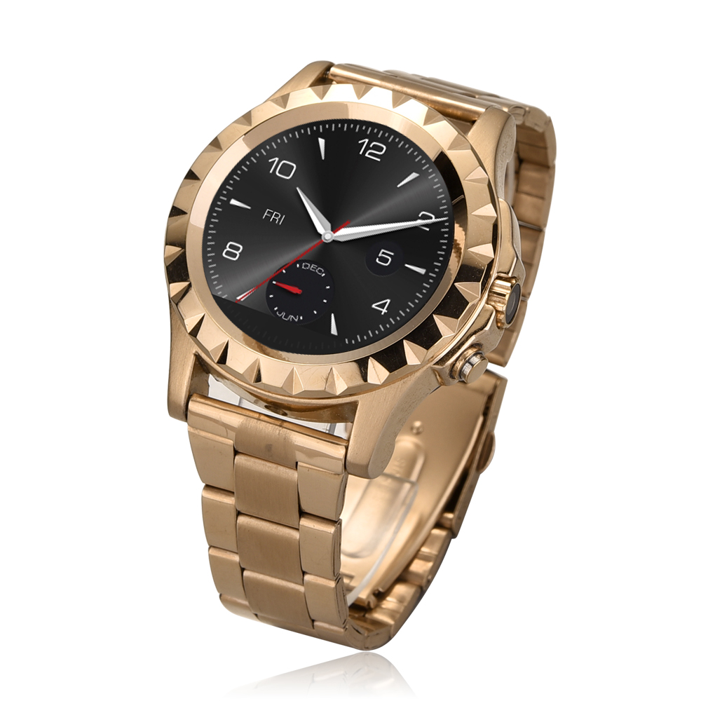 Round Screen Stainless Steel font b Smartwatch b font Heart Rate Music Player Camera Waterproof Bluetooth