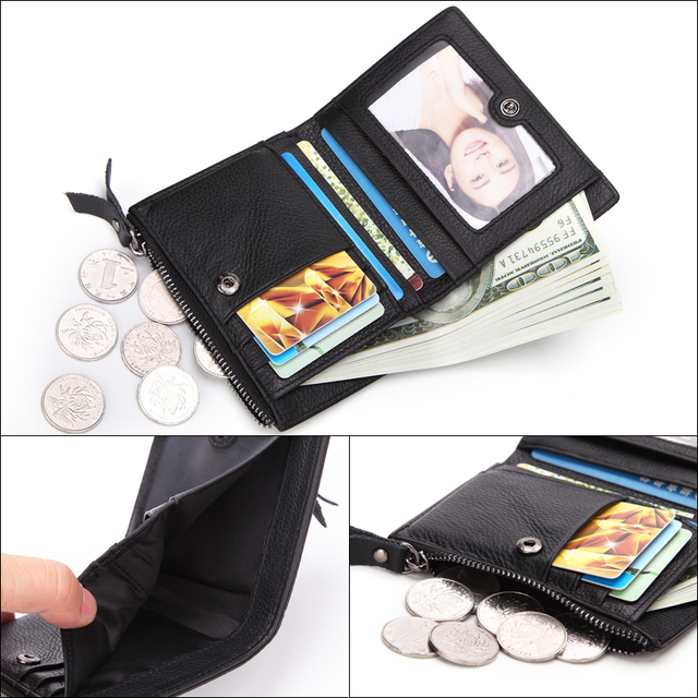 Genuine Leather Mens Wallet Man zipper Short Coin Purse Brand Male Cowhide Credit&id Wallet