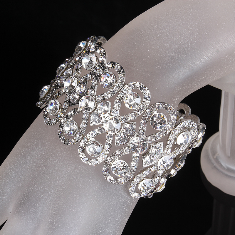 SLBRIDAL Art Deco Gümüş Renk Rhinestones Kristaller Streç - Kostüm mücevherat - Fotoğraf 2