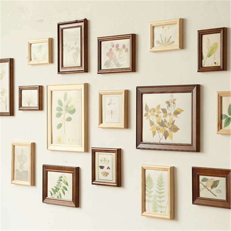 Wooden love photo frame wood picture wall cadre collage for Unique wall frames