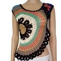 Sexy Oco Out Crochet Coverups Verão 2017 Mulheres Tops E Blusa Da Moda Sem Mangas de Malha Praia Irregular Tops Plus Size