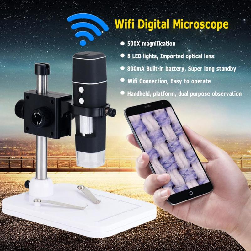 WiFi Digital Microscope 8 LED Wireless 500X Camera 2MP Digital Microscope Magnifier with Base Stand Holder for IOS Android цены