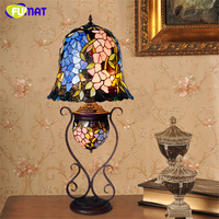 FUMAT Stained Glass Table Lamp Artistic Wisteria Glass Shade Stand Lights Living Room Store Bar Bedside Light Fixtures Lightings