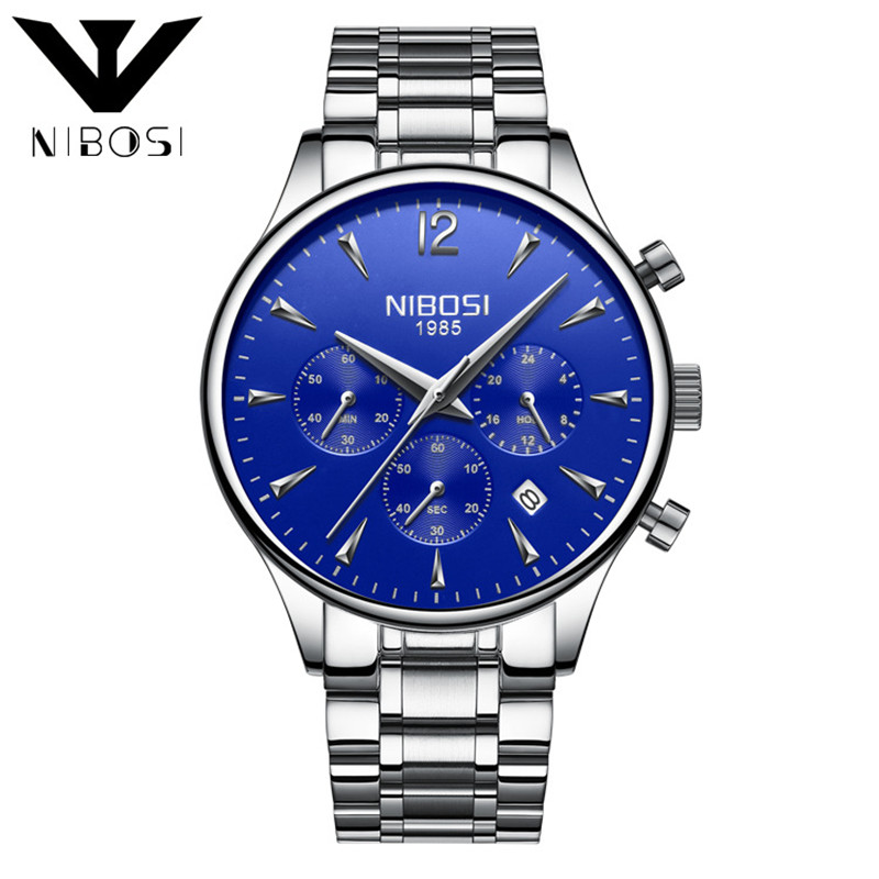 Nibosi Blue Gentleman Quartz Watch With Stainless Steel Watchband Waterproof Watches Men Top Brand Luxury Relogio Masculino vik max adult kids dark blue leather figure skate shoes with aluminium alloy frame and stainless steel ice blade