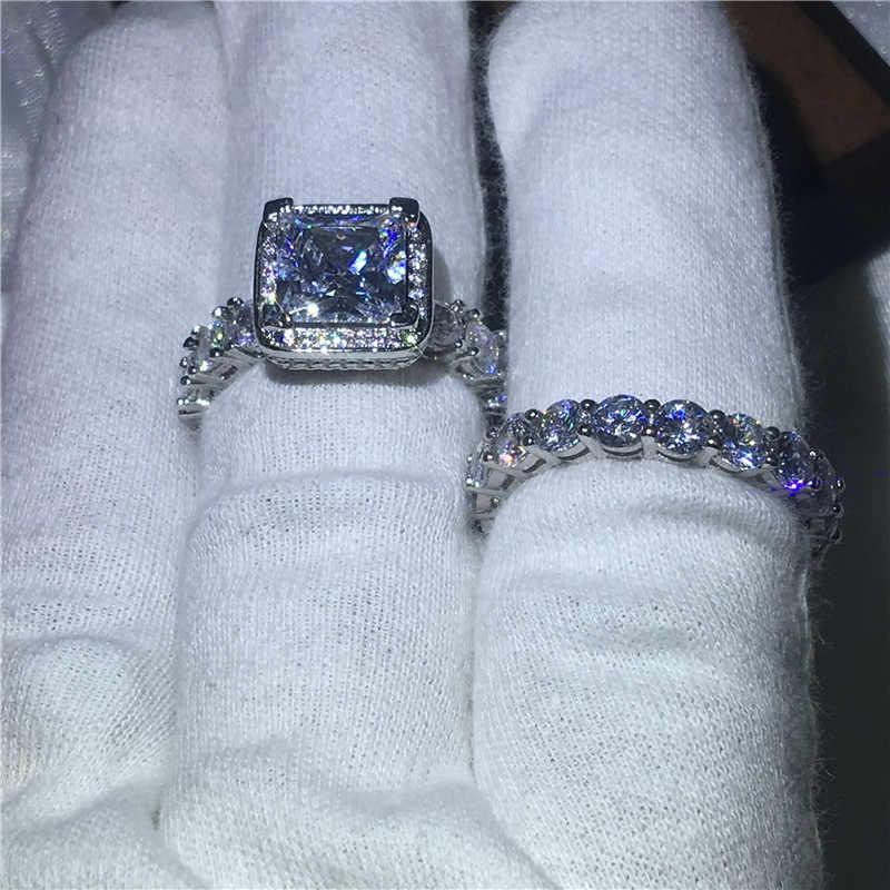 Choucong Винтажное кольцо проложить Установка 5A Циркон Cz стерлингового серебра 925 обручальные Обручальные кольца набор для женщин Свадебный bijoux