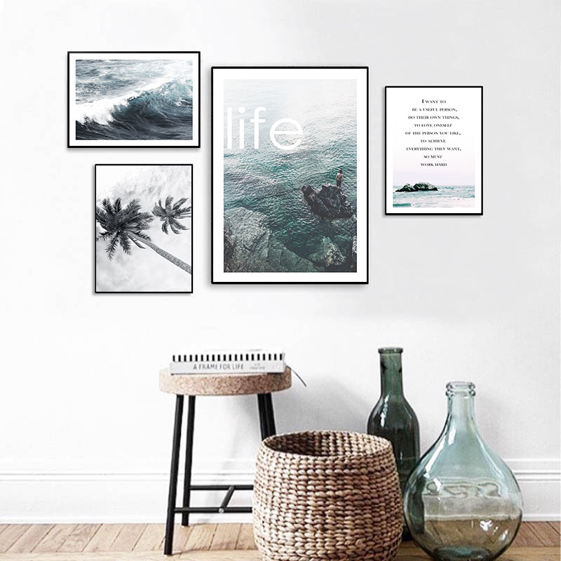 Landscape Wall Art Canvas Poster Sea Ocean Beach Print Nordic Style Painting Decorative Picture Modern Living Room Decoration in Painting Calligraphy from Home Garden