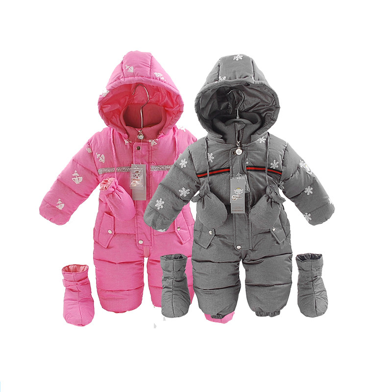 Russia winter Baby Snowsuit Infant Girl Coats  Down  Rompers 0-24 Months Jumpsuit Girl Winter Clothes Warm Jacket Outwear new 2016 baby down coats set baby down jacket suspenders girl
