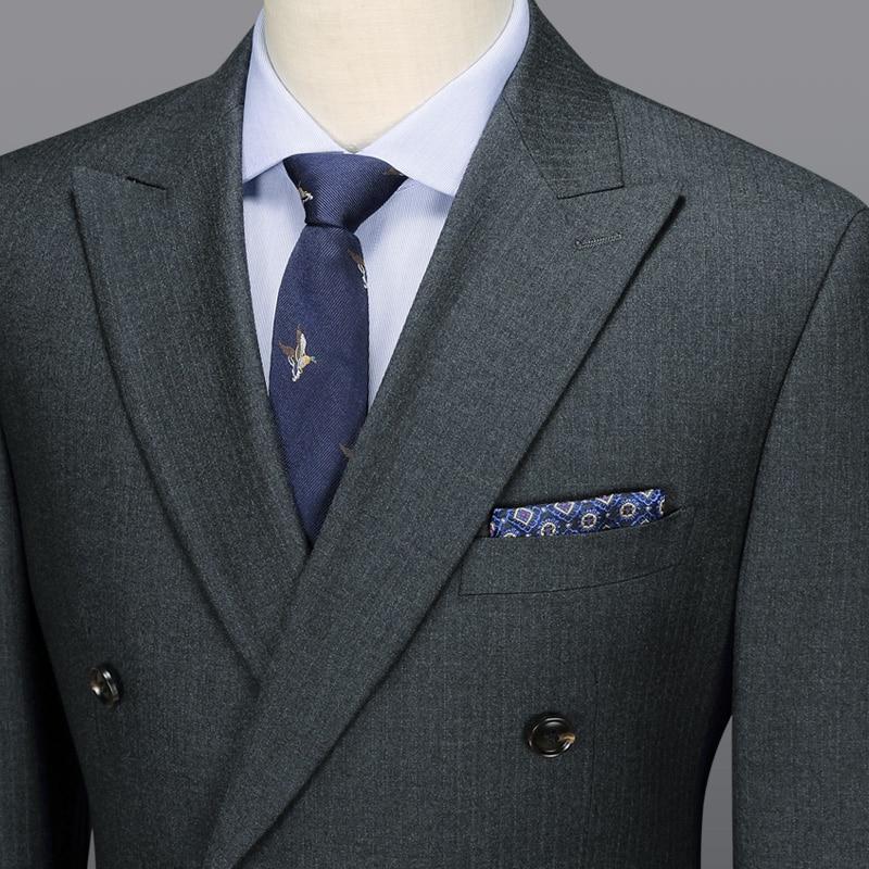 b4c2b9d8c89d0 Flash Sale] 100% wool double breasted men suit set grey slim blazer ...