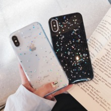 Cute Glitter Bling Case for iPhone X XS Max XR Cover Glossy Epoxy Star Love Heart Clear Soft For 6 6s 7 8 Plus