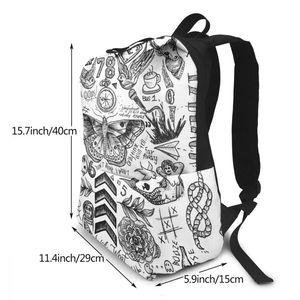 Image 2 - Sac à dos monodirectionnel, tatouage, sacoche sport, imprimé multi poches, pour adolescents, tendance, bonne qualité
