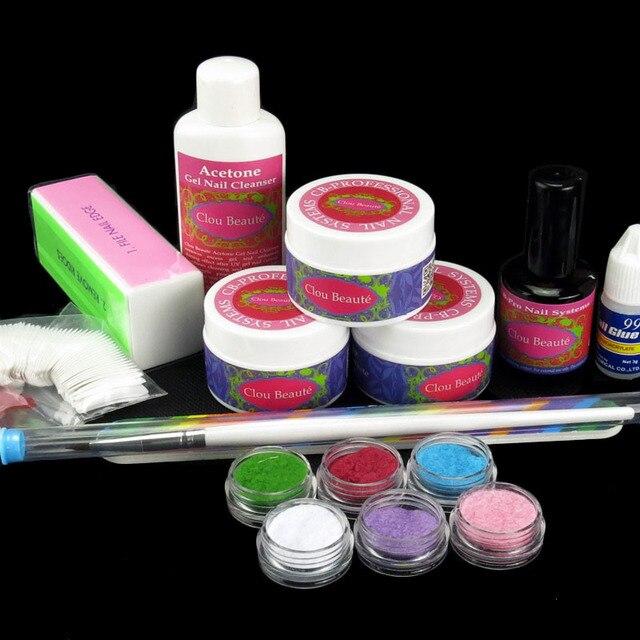 3 X UV GEL Cleanser Plus Velvet Flocking Topcoat False Nail Glue Pen Buffer Block 3-Sides Brush Pen N046 Nail Kits