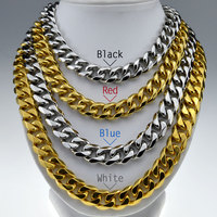 316L Stainless Steel Mens Necklace Cuban Curb Chain 60cm Length In Gold Silver Tone N333 334