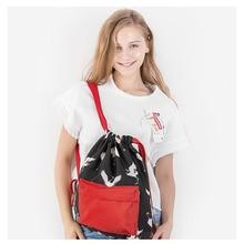 Women Backpack Red Crowned Crane Printing Drawstring Backpack Fashion Drawstring School Bag for Female Teenager Girls mochila