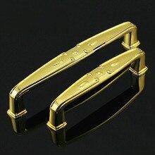 5 Fashion deluxe kitchen cabinet handle gold cupboard pull 128mm bright brass drawer wardrobe dresser furniture