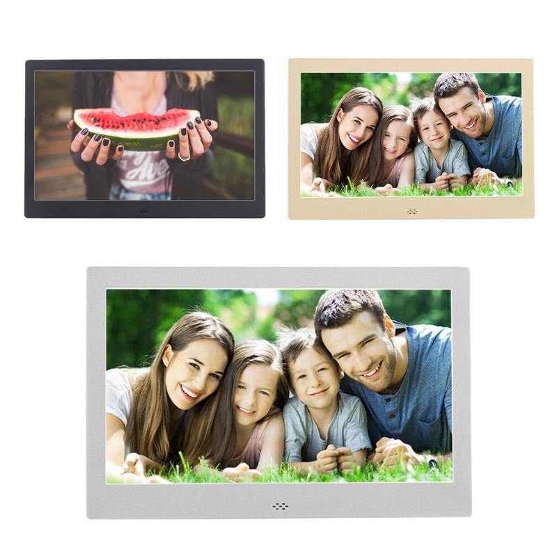 цена на 12 Inch Digital Metal Photo Frame HD 1280x800 Electronic Picture Clock Calendar Remote Control Built-in Speaker Digital Frame