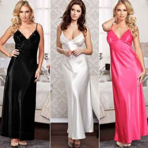 2019 Manga Comprida De Cetim Nightdress Nightie Lace Profunda Plus Size Roupa de Dormir Sleepwear