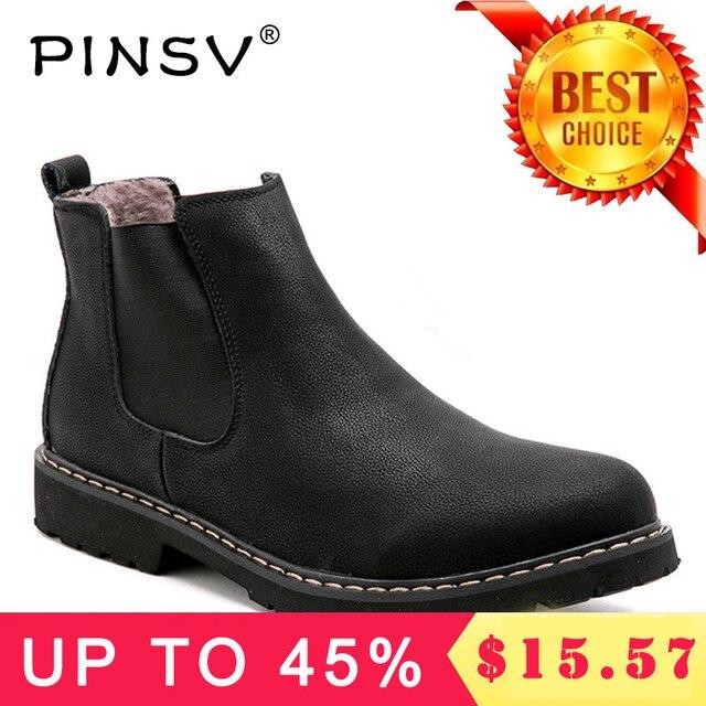 プラスサイズ 37-45 チェルシーブーツメンズ冬の靴黒スプリット革ブーツメンズ靴暖かい豪華な毛皮の冬男性 PINSV