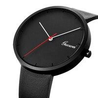 2017 Top Brand New Design Men Minimal Leather Watch Simple Mens Wristwatch Quartz Watch Leathers Strap