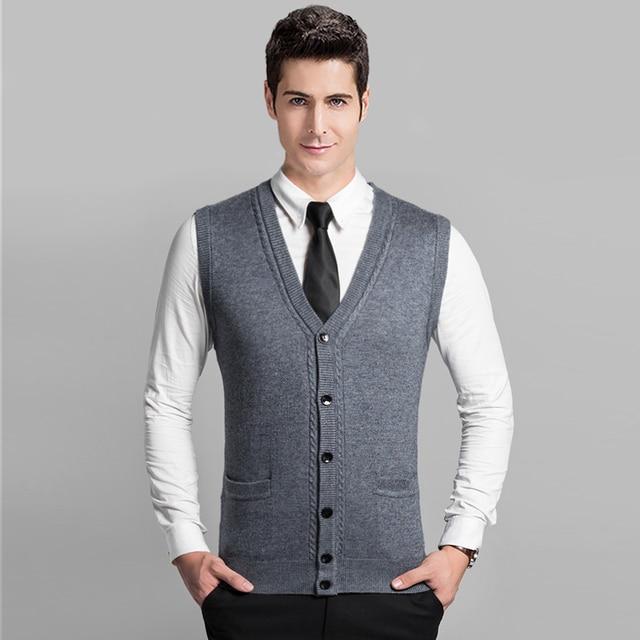 Hot sale autumn winter high quality wool men sleeveless sweater ...
