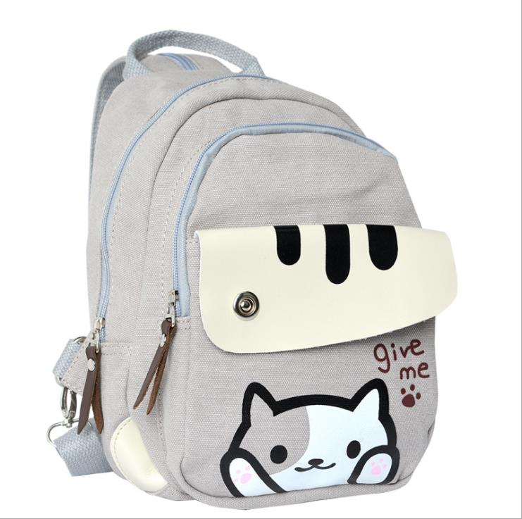Harajuku Hot Anime Kawaii Neko Atsume Cospaly Mini Printing Denim Backpacks For Teenage Girls Women School Bags Mochila Escolar