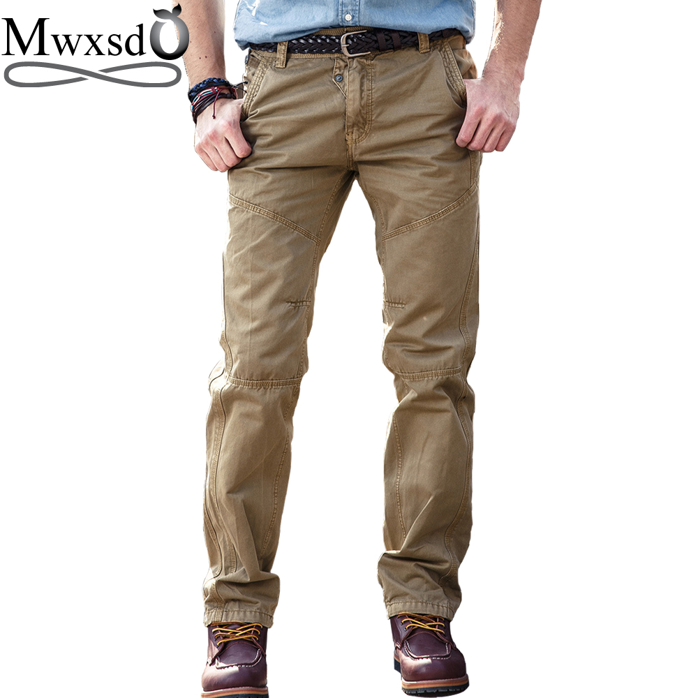 Mwxsd brand casual mens cotton long pants Military Army long pants Male solid trousers Militar Work Army Cargo Tactical pants