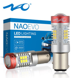 NAO P21/5W LED 1157 1300Lm BAY15D P21 5W For E46 E90 Car Red brake light 12V Bulb 5.5W Auto Parking Signal lamp DRL Accessories