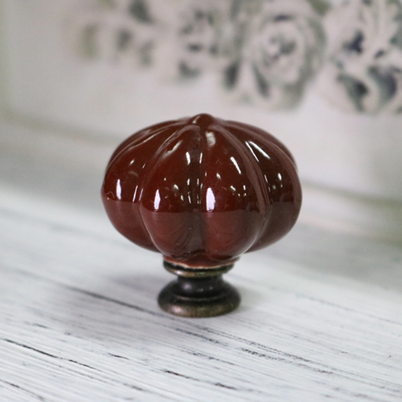 33mm Coffee Color Pumpkin Shape Ceramic Drawer Pull Furniture Knob Unique Cabinet Knobs 5 Pieces