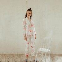Cearpion Women Cotton Casual Home Clothes New Print Animal 2 Pcs Shirt+pant Sleepwear Spring Autumn Female Pajamas Suit M L XL