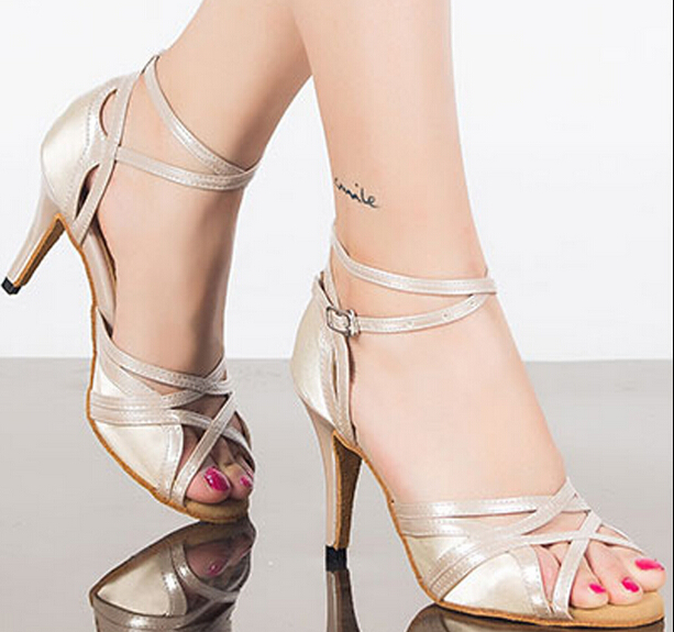 Latin Dance White Satin Shoes