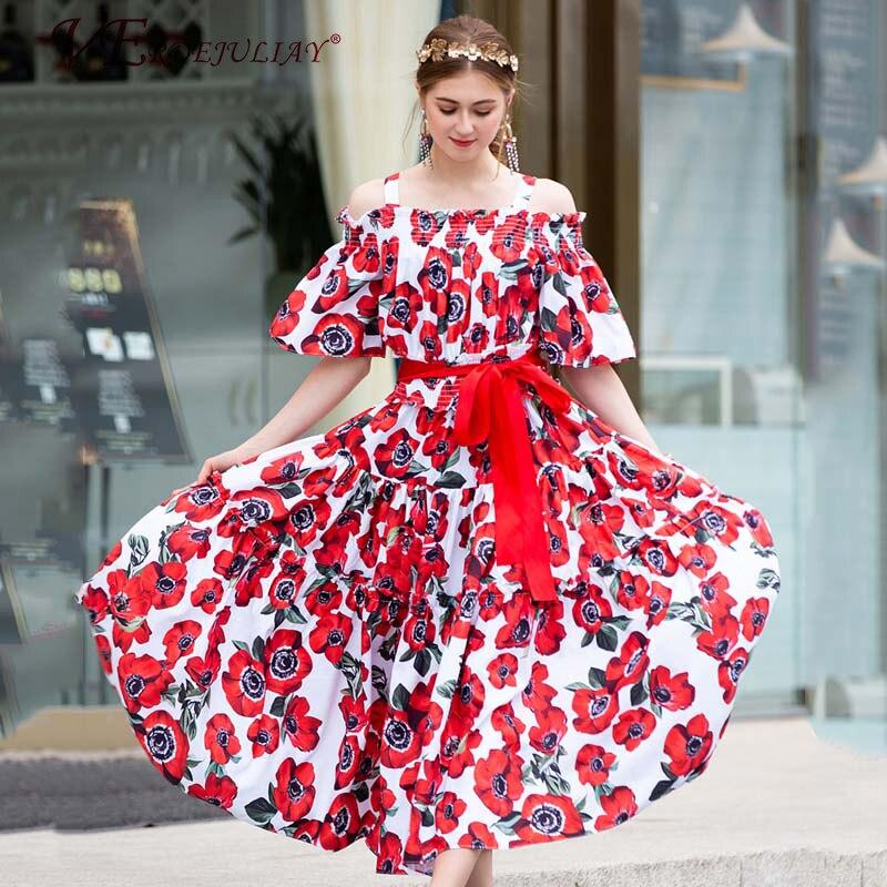 Femmes robes mode été 2019 rouge Rose imprimer Spaghetti sangle Slash cou à manches courtes ceinture mince européenne chaude longue robe