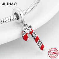Beautiful Christmas gift Bow Real Enamel candy cane Clear CZ Pendants Fit Original Pandora Charms Bracelet Jewelry making 2018