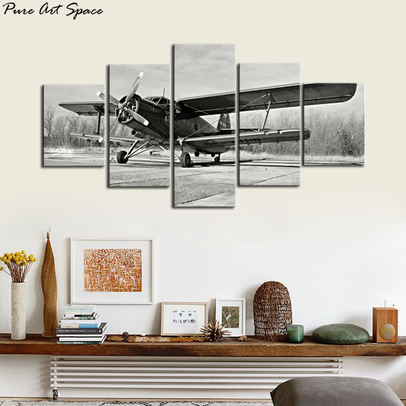 Custom Black and White Vintage Airplane Wall Art Decor Old Paper Airplane Pictures Poster Aircraft Artwork Drop shipping image