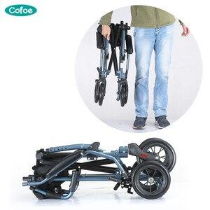 Image 3 - Cofoe tekerlekli sandalye katlanır taşıma tekerlekli sandalye alüminyum hafif engelli arabası ışık Handiness Brougham engelliler için