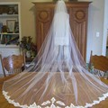 Tulle Simple Long  Wedding Bridal Veils One Layer Appliqued Edge Custom Made Wedding Accessories Free Shipping 2015