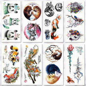 Water Transfer Watercolor Fox panda Temporary Tattoo Sticker Geometric animals Pattern body art Waterproof  Flash Tattoo