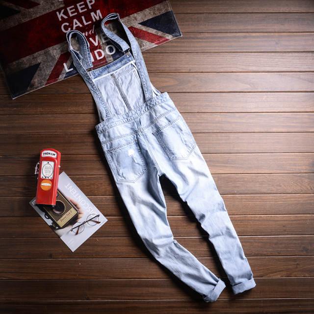 f0c8ef473a6 Ripped bib Pants Men s Blue Denim Overalls Bib Jeans Casual Man Destroy  Ripped Jeans Men Rompers