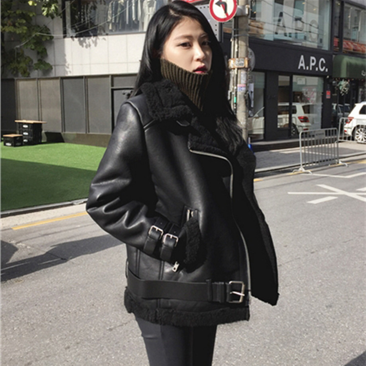 Leather   Jacket 2019 Autumn/Winter New Thickened Korean Fashion Loose Women's Locomotive Personality Pu Patch Lamb Fur Coat