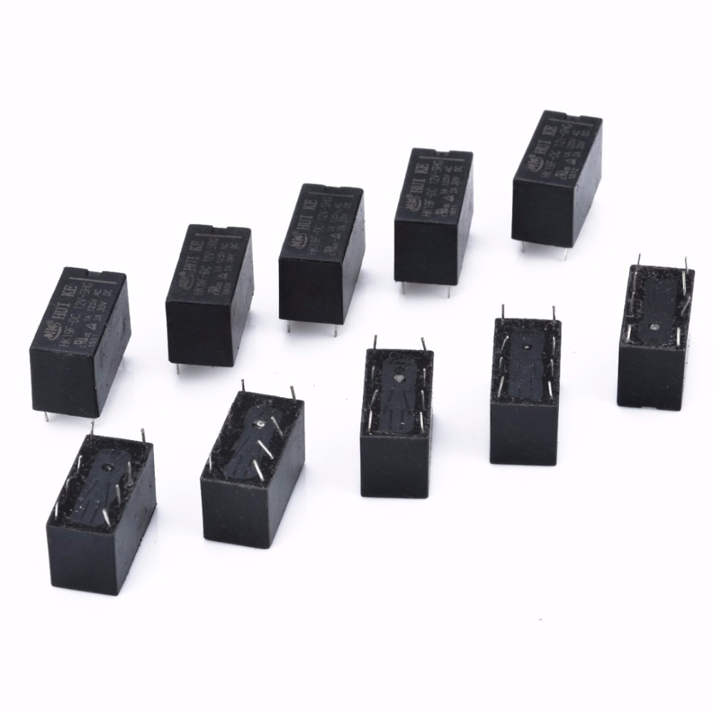 цена на 10pcs/lot DC 12V Mini Power Relay 8 Pin HK19F SHG Coil DPDT Power Relays Set PCB Type
