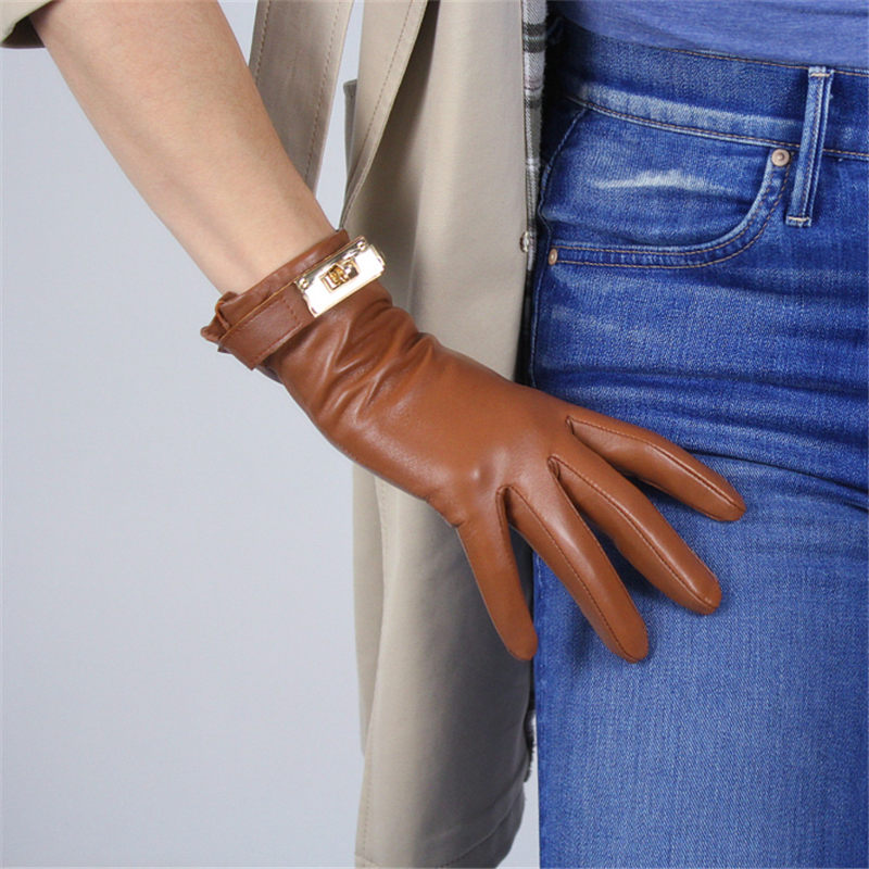 Touch Screen Woman Gloves Genuine Leather Imported Goatskin Female Gold Color Button Fashion Womans Mittens TB95