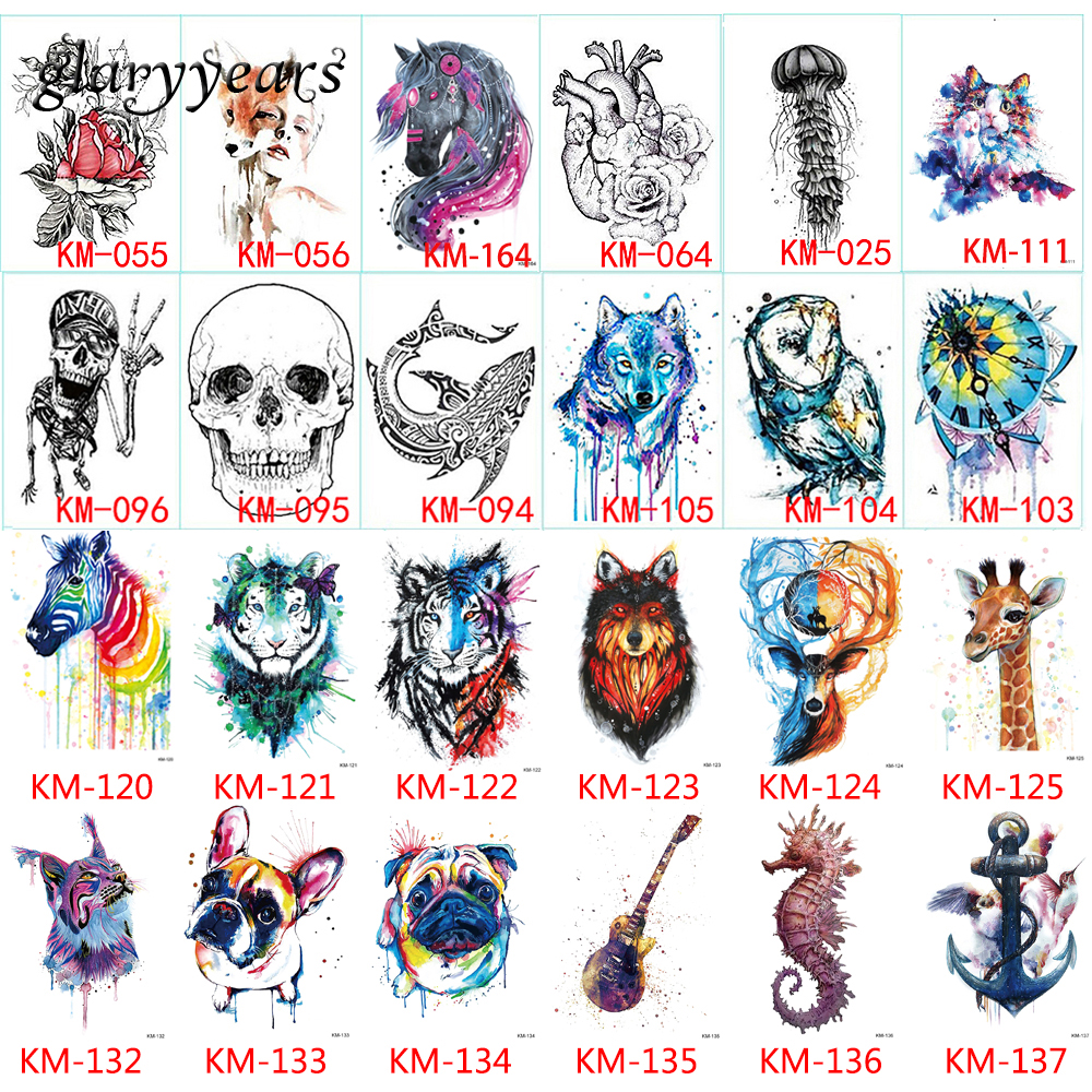 167 Design 1pc Tattoo Sticker Moth Jellyfish Indian Wolf Design Women Men Flower Arm Leg Chest Body Art Temporary Tattoo Fashion