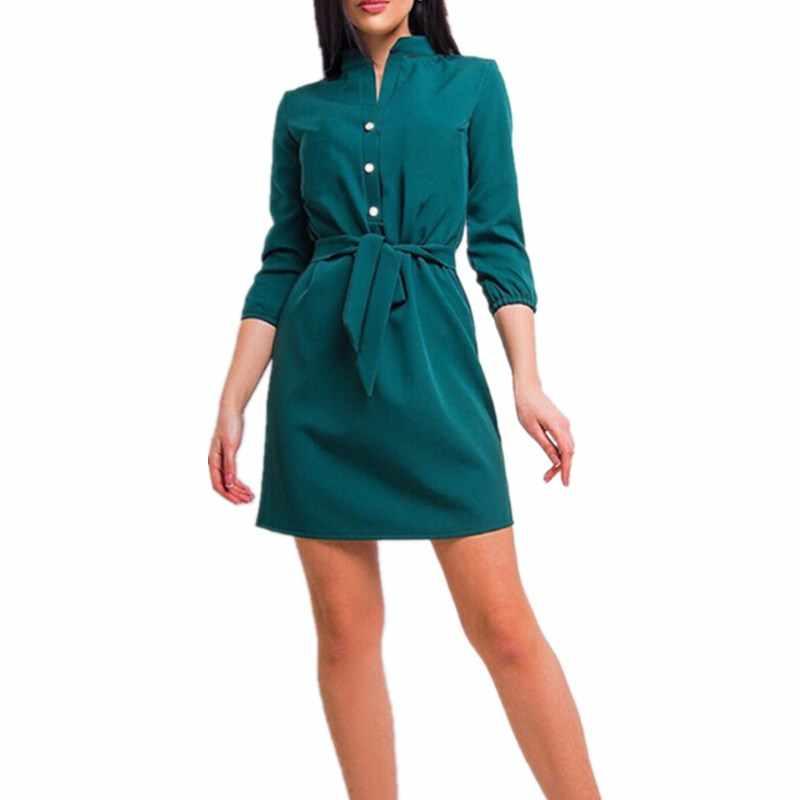 Womens Stand Collar Loose Casual Dress Three Quarter Elegant Lady Waist Band Beach Party Plaid Short Mini Dresses