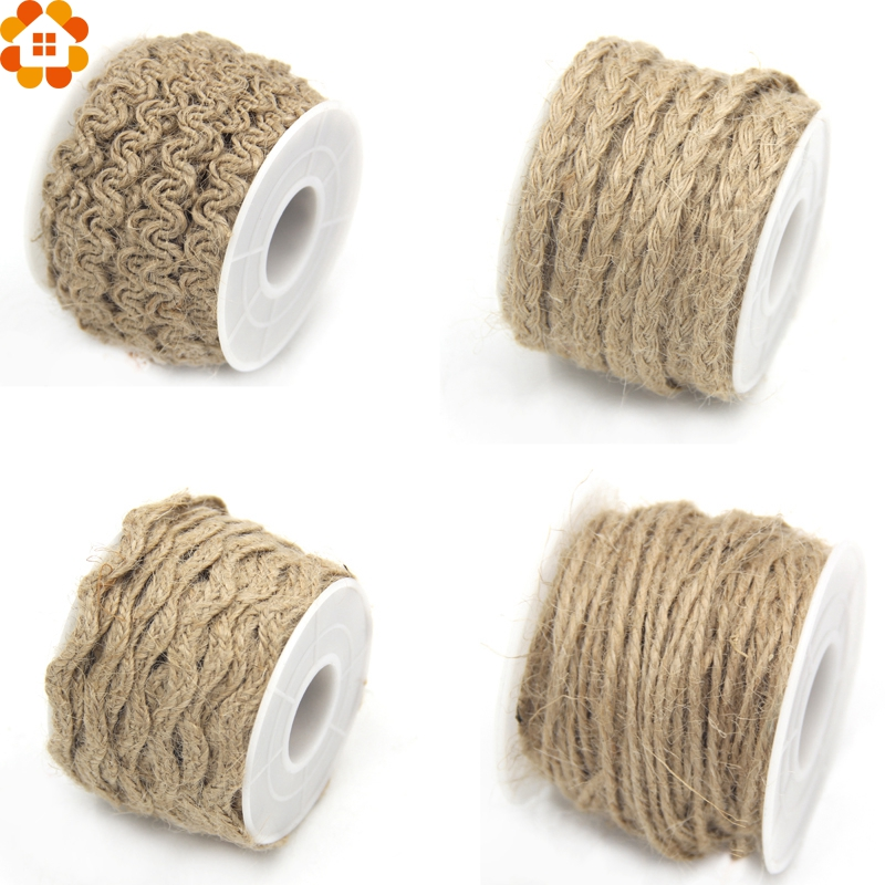 New Arrival!5yard Natural Hessian Jute Twine Rope Burlap Ribbon DIY Craft Vintage Home Decor Wedding Party Decoration Supplies