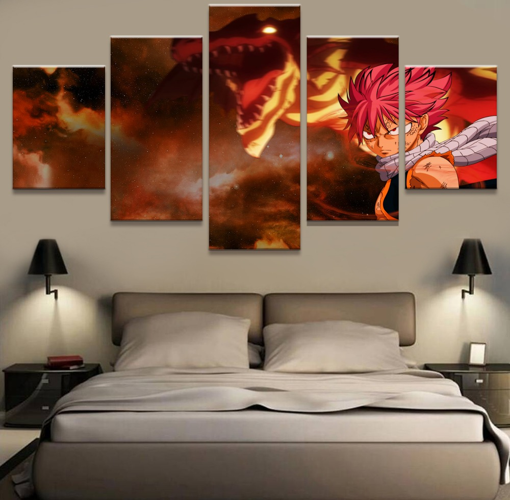 5 Piece Modern Home Decor Poster Fairy Tail Anime Painting Canvas Wall Art Picture Home Decoration