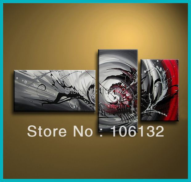 Framed 3 Panel Huge High End Stunning Piece Canvas Wall Art Black White Red Abstract Oil Painting Picture Home Decor A0591 In Calligraphy From