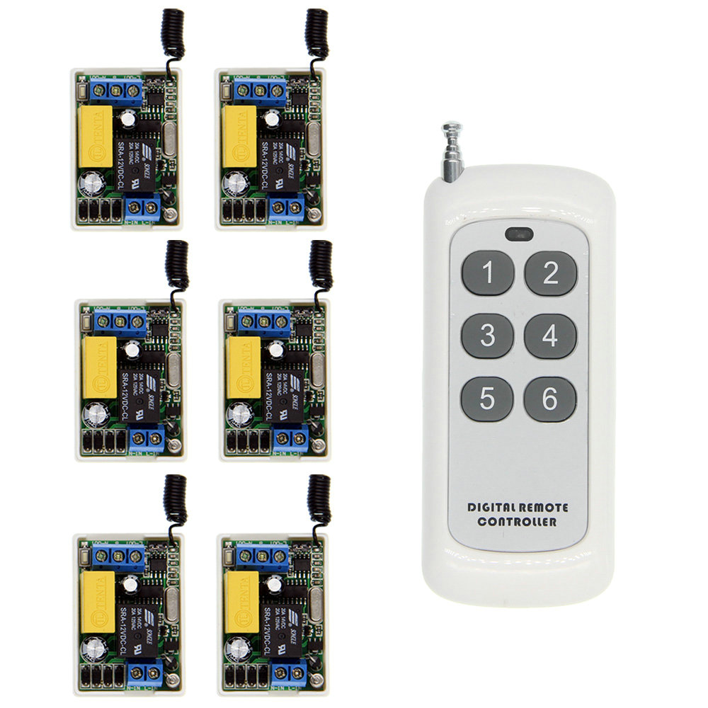 500m Mini Size 220V 1CH 1CH 10A Wireless Remote Control Lighting Switch Relay Receiver + 6CH Transmitter System ,315 / 433 MHz ac 220v 30a 1ch rf wireless remote control switch system 315 433 mhz 6ch transmitter