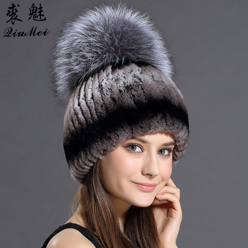 Fur Hat For Female With Luxury Fluffy Ball Russian Hats New Cold Winter Genuine Rabbit Fur New Striped Benies Hats russian hats for extremely cold fur hat guarantee 100