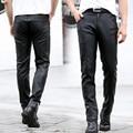 2016 Fashion Men's Leather Pants Skinny Fit Men Faux Leather Pencil Pants Trousers with Zipper Black Plus Size KL1803